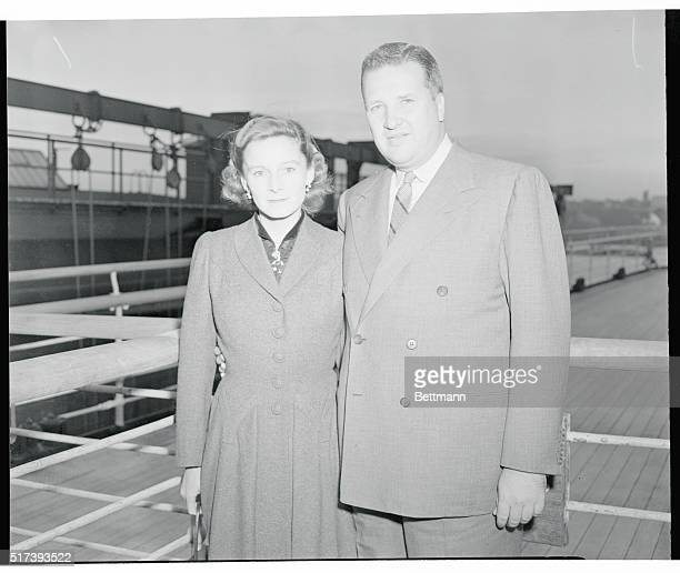 Return from EuropeMr and Mrs Henry Ford II return to the US aboard the hurricanelashed liner Queen Elizabeth October 20th which at one time was...