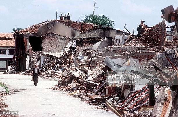 Return of Kosovan Civilians in Kosovo In Pec Yugoslavia On June 16 1999 PEC destroyed by NATO bombing