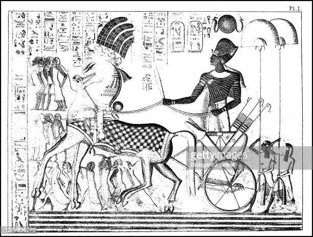 Return of Pharaoh Ramses III with prisoners, ca 1180 BC, Egypt, Mediet Habu.