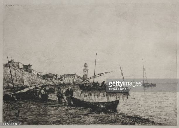 Return of the Fishing Boats at Collioure, near the Spanish Border, 1878. Adolphe Appian . Etching; sheet: 32.5 x 45.9 cm ; platemark: 29.4 x 38.6 cm .