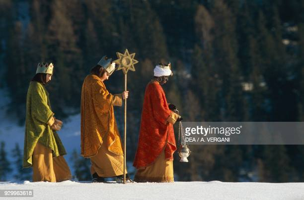 Return of the Magi reenactment by Ladin children San Vigilio TrentinoAlto Adige Italy