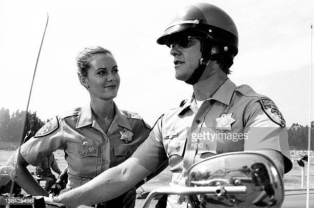 CHIPS Return of the Supercycle Episode 7 Aired Pictured Anne Lockhart as Patrolman Kathy Mulligan Larry Wilcox as Officer Jon Baker
