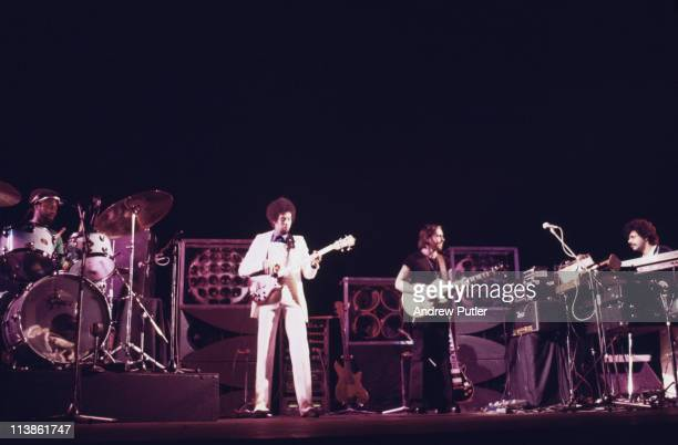 'Return to Forever' on stage during a live concert performance, circa 1975.