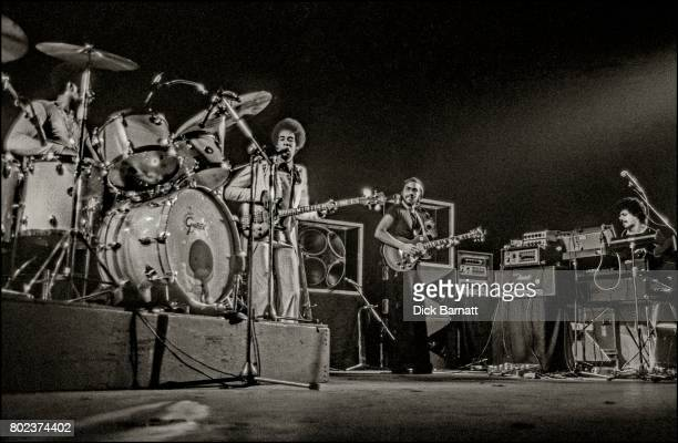 Return To Forever performing on stage, May 4, at the New Victoria Theatre in London. L-R Lenny White, Stanley Clarke, Al Di Meola, Chick Corea.