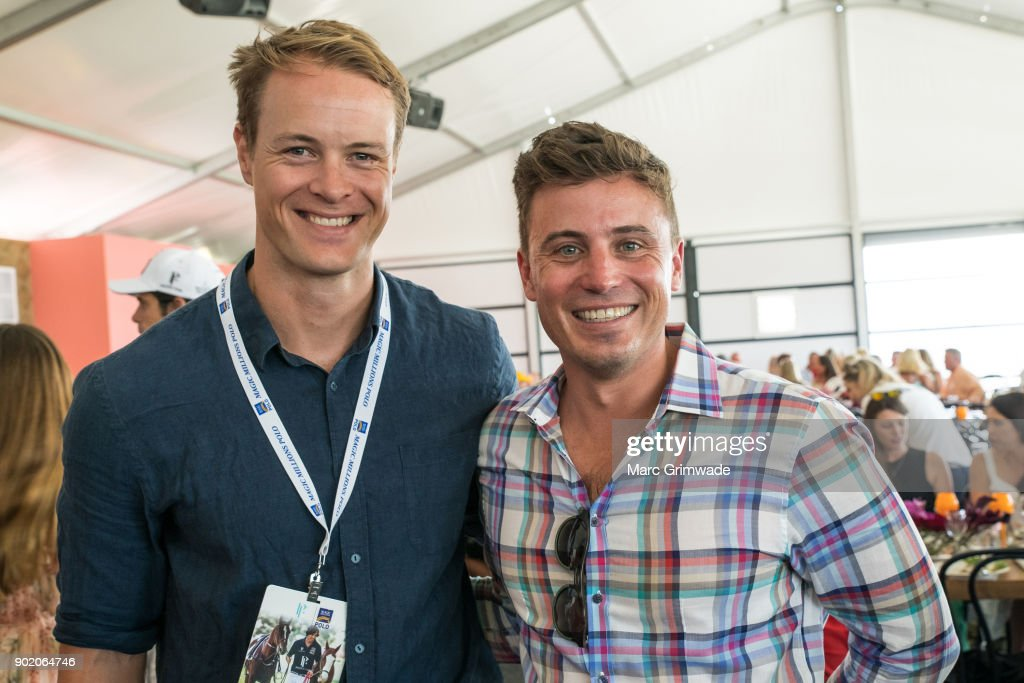 Returned soldier Curtis McGrath and Channel 7 identity James Tobin attend Magic Millions Polo on January 7, 2018 in Gold Coast, Australia.