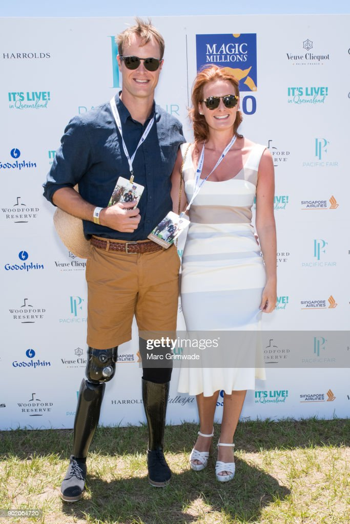 Returned soldier Curtis McGrath and Racheal Martin attend Magic Millions Polo on January 7, 2018 in Gold Coast, Australia.