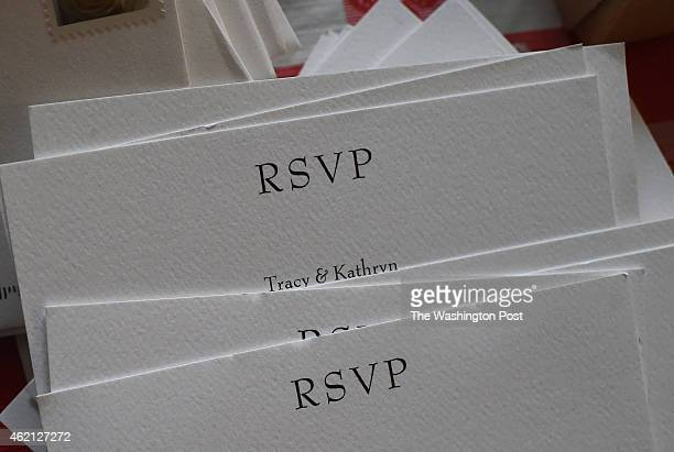 Returned wedding invitations are seen in the home of Tracy Curtis and Kathryn Frazier on Tuesday December 30 2014 in Norman OK Same sex marriage has...