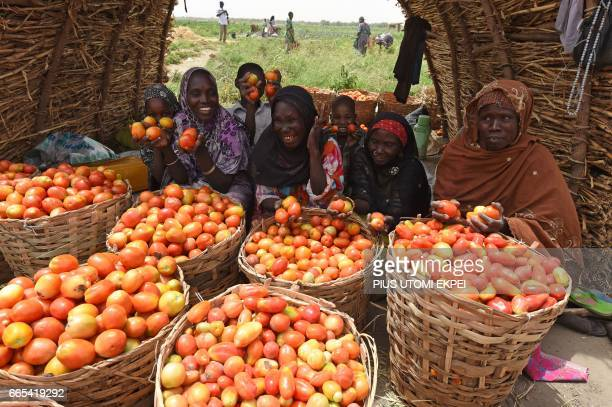 Returnee women who had fled from Boko Haram Islamists sit beside basketfuls of tomatoes harvested from Food and Agriculture Organisation supported...