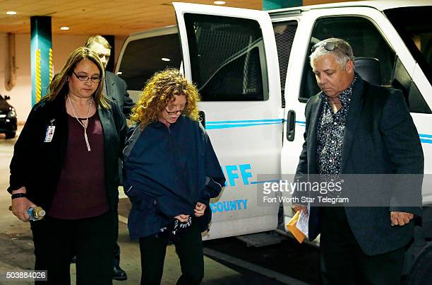 Returneing to Texas from Los Angeles Tonya Couch mother of affluenza Ethan Couch arrives escorted by sheriff's deputies at the Tarrant County Jail in...