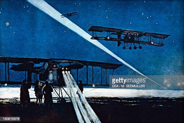 Returning from a night flight simulated bombing by Francois Flameng watercolour World War I France 20th century