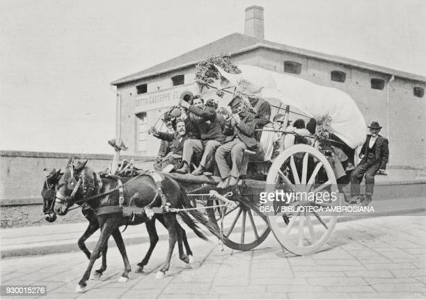 Returning from the feast in Monteverde a horsedrawn wagon Naples Italy photograph by CroccoEgineta from L'Illustrazione Italiana Year XXX No 25 June...