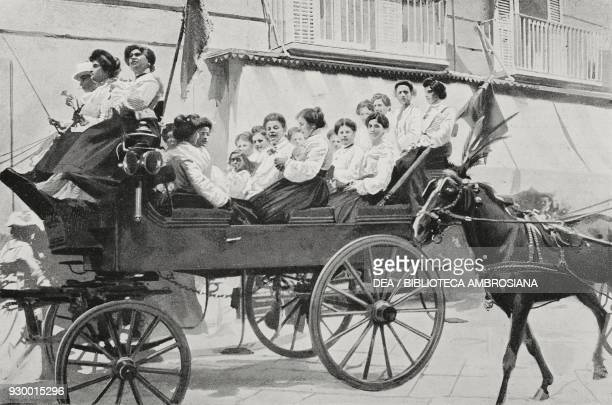 Returning from the feast in Monteverde women in a carriage Naples Italy photograph by CroccoEgineta from L'Illustrazione Italiana Year XXX No 25 June...