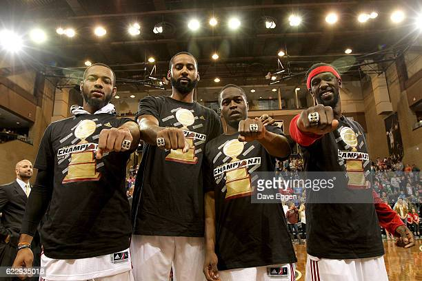 Returning Sioux Falls Skyforce members from left Jabril Trawick Keith Benson Bubu Palo and Briante Weber show off their championship rings at the...
