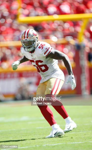 Reuben Foster of the San Francisco 49ers defends during the game against the Kansas City Chiefs at Arrowhead Stadium on September 23 2018 in Kansas...
