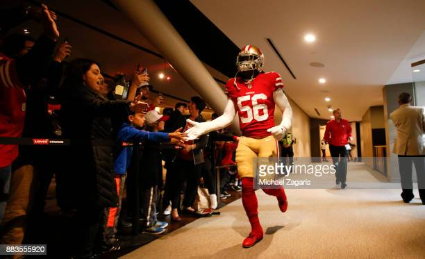 Reuben Foster of the San Francisco 49ers passes through the club on the way to the field prior to the game against the Seattle Seahawks at Levi's...