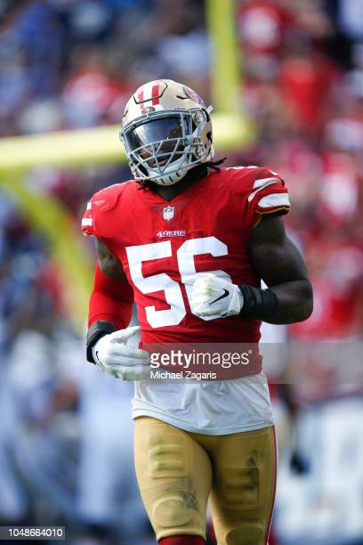 Reuben Foster of the San Francisco 49ers stands on the field during the game against the Los Angeles Chargers at StubHub Center on September 30 2018...