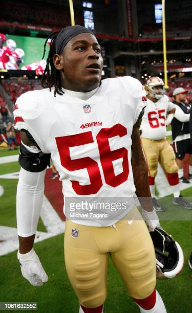 Reuben Foster of the San Francisco 49ers stands on the field prior to the game against the Arizona Cardinals at State Farm Stadium on October 28 2018...