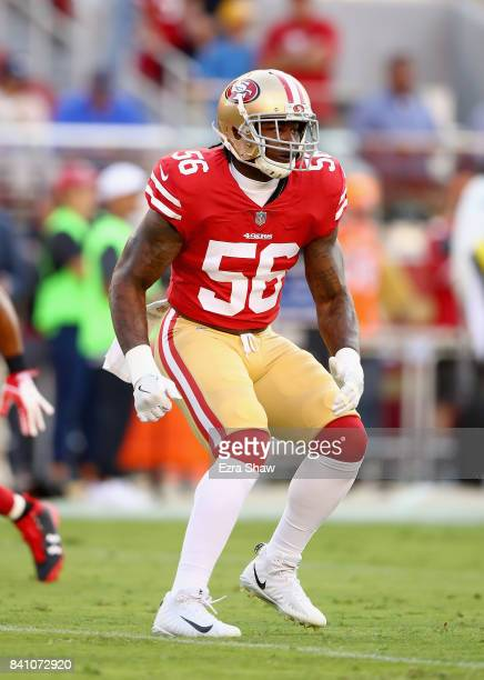 Reuben Foster of the San Francisco 49ers warms up before their game against the Denver Broncos at Levi's Stadium on August 19 2017 in Santa Clara...