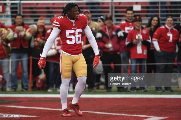Reuben Foster of the San Francisco 49ers warms up prior to their game against the Jacksonville Jaguars at Levi's Stadium on December 24 2017 in Santa...