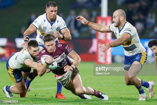 Reuben Garrick of the Sea Eagles with the ball during the round 22 NRL match between the Manly Sea Eagles and the Parramatta Eels at Sunshine Coast...