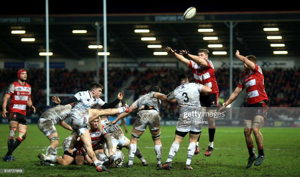Reuben Morgan-Williams of Ospreys kicks down field during the Anglo-Welsh Cup match between Gloucester Rugby and Ospreys at Kingsholm Stadium on January 26, 2018 in Gloucester, England.