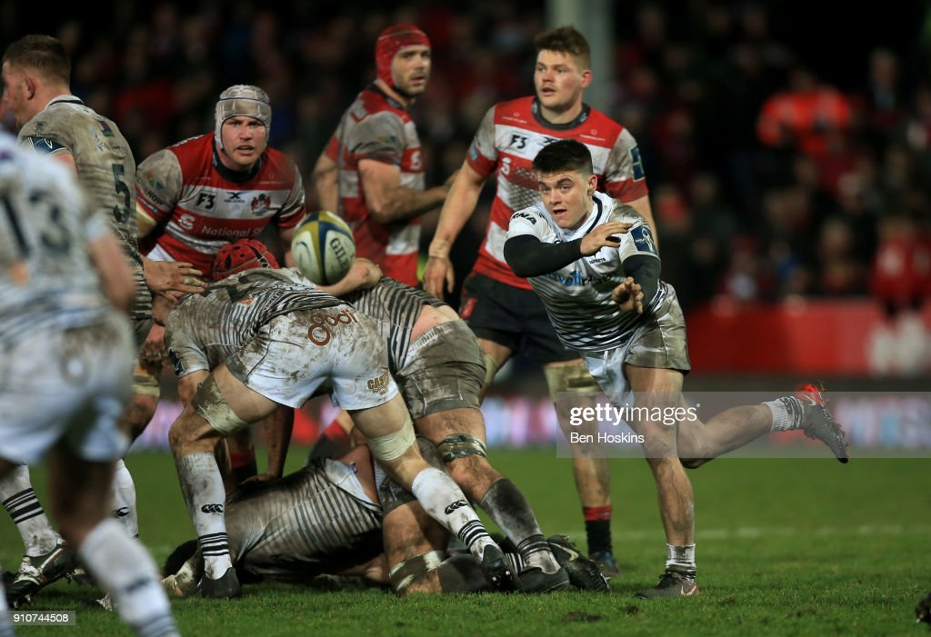 Reuben Morgan-Williams of Ospreys throws the ball out during the Anglo-Welsh Cup match between Gloucester Rugby and Ospreys at Kingsholm Stadium on January 26, 2018 in Gloucester, England.