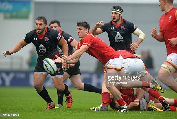 Reuben MorganWilliams of Wales passes out the ball during the World Rugby U20 Championship match between Wales and Georgia at The Academy Stadium on...