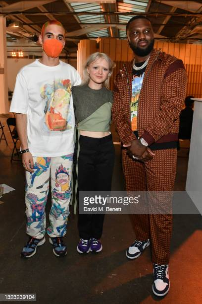 Reuben Selby, Maisie Williams and Headie One attend the Reuben Selby show during London Fashion Week June 2021 on June 12, 2021 in London, England.