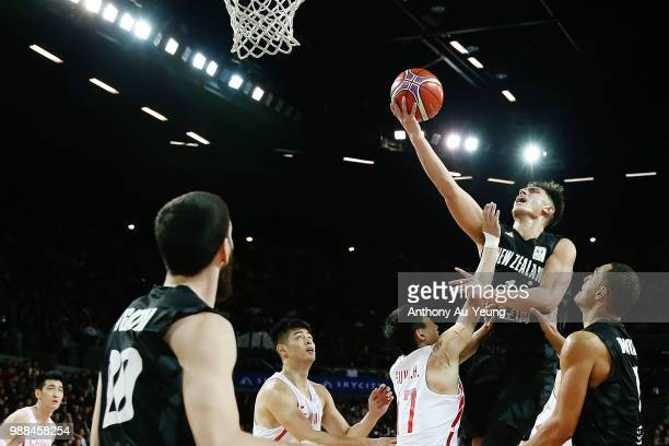 Reuben Te Rangi of New Zealand goes to the basket during the FIBA World Cup Qualifying match between the New Zealand Tall Blacks and China at Spark...