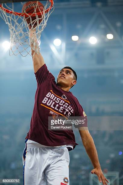 Reuben Te Rangi of the Brisbane Bullets warms up during the round 12 NBL match between Melbourne and Brisbane at Hisense Arena on December 26 2016 in...