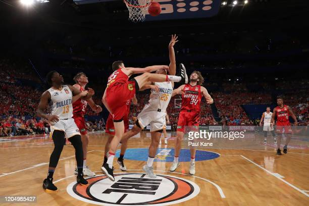 Reuben Te Rangi of the Bullets is fould be Clint Steindl of the Wildcats during the round 19 NBL match between the Perth Wildcats and the Brisbane...