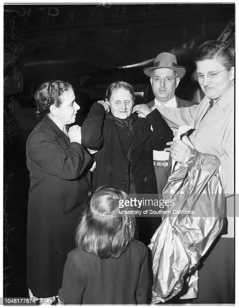 Reunion 3 December 1951 Mrs Mary Christopheles 79 yearsJohn Christopheles Andrew Panos Mrs Nora Panos Caption slip reads 'Photographer Olmo Date...