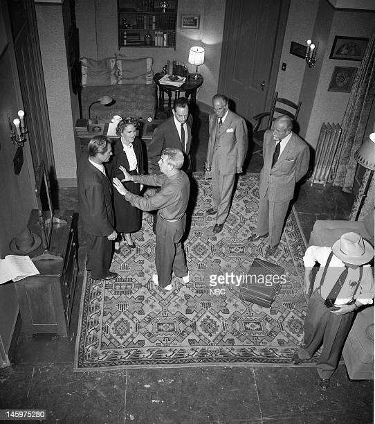 MRS NORTH Reunion Episode 203 Pictured Richard Denning as Jerry North Barbara Britton as Pam North director George Blair Harlan Warde as Agent Adams...