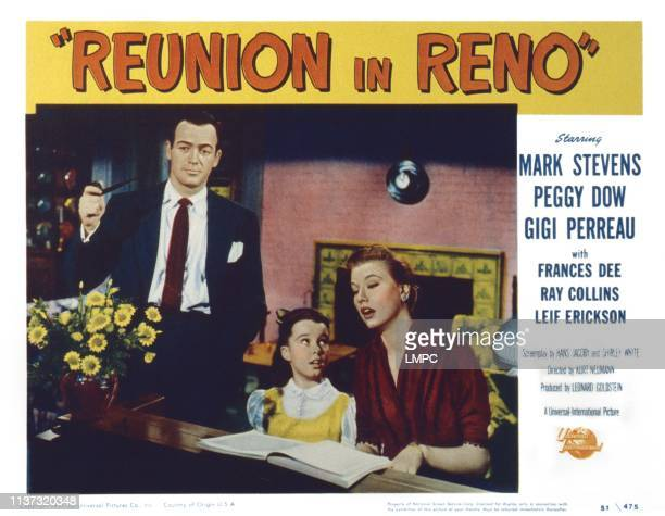 Reunion In Reno US lobbycard from left Mark Stevens Gigi Perreau Peggy Dow 1951
