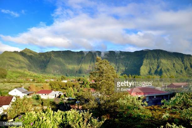 reunion island, around the volcano, houses in the plaine des cafres, plateau des hauts of the island of reunion - french overseas territory stock pictures, royalty-free photos & images