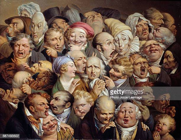 Reunion of 35 facial expressions Caricature studies of ridiculous facial expressions Painting by Louis Leopold Boilly circa 1825 Oil on wood 019 x...