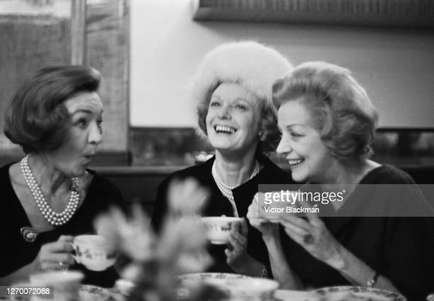 A reunion of artists from the CB Cochran revues UK 7th February 1966 From left to right English actresses Florence Desmond Anna Neagle and Evelyn Laye