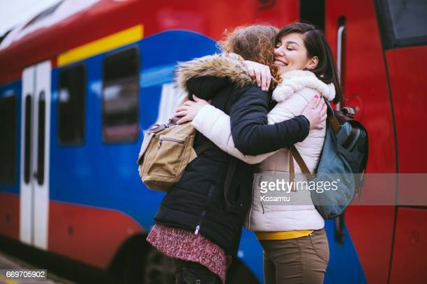 Reunion Of Girlfriends At Railway Station