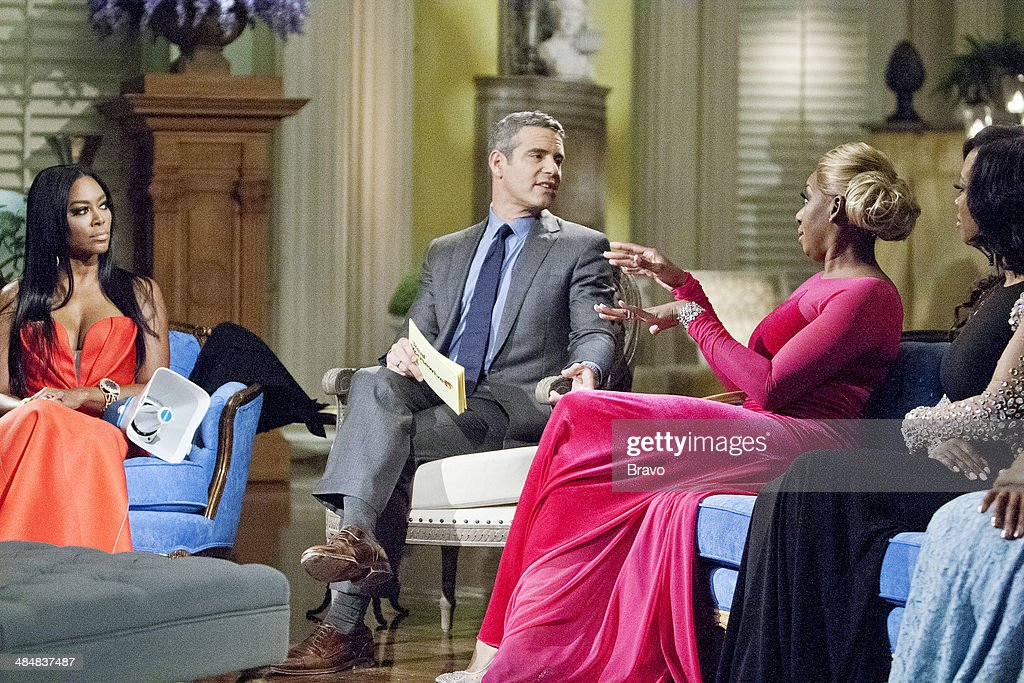 ATLANTA -- 'Reunion' -- Pictured: (l-r) Kenya Moore, Andy Cohen, Nene Leakes, Kandi Burruss --