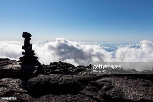 Reunion, Reunion National Park, Shield Volcano Piton de la Fournaise, Crater Dolomieu, cairn
