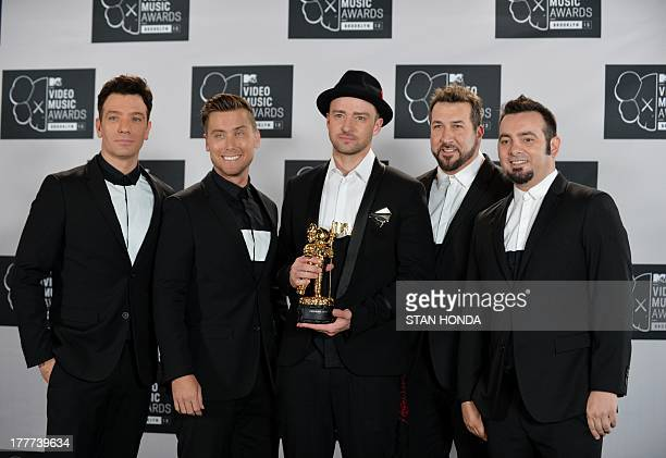 A reunited 'N Sync including Justin Timberlake JC Chasez Lance Bass Joey Fatone and Chris Kirkpatrick at the MTV Video Music Awards August 25 2013 at...