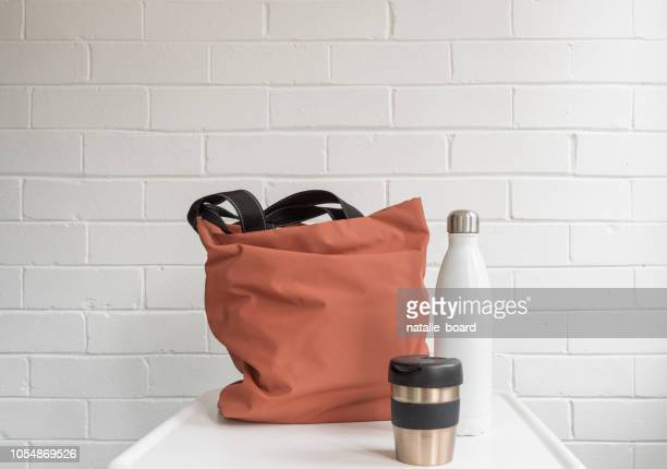 Reusable coffee cup, insulated drink bottle and shopping tote bag