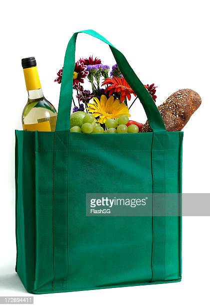 Reusable Green Shopping Bag With Groceries