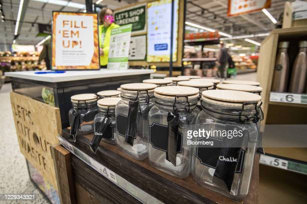 Reusable jars at the 'Refill Zone' inside an Asda store trialing new sustainability initiatives in Middleton UK on Thursday Oct 29 2020 Walmart Inc...