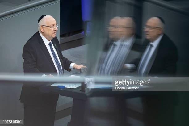 Reuven Rivlin President of Israel is pictured during the day of remembrance at the German Bundestag for the victims of national socialism on January...