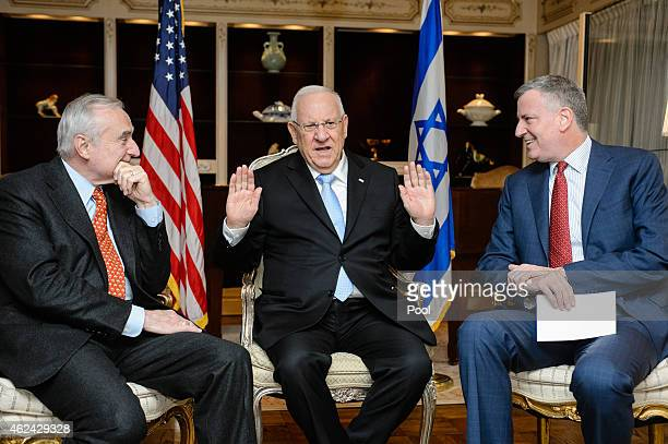 Reuven Rivlin, President of Israel meets with NYPD Comissioner William Bratton and New York City Mayor Bill de Blasio at the Park Lane Hotel, on...