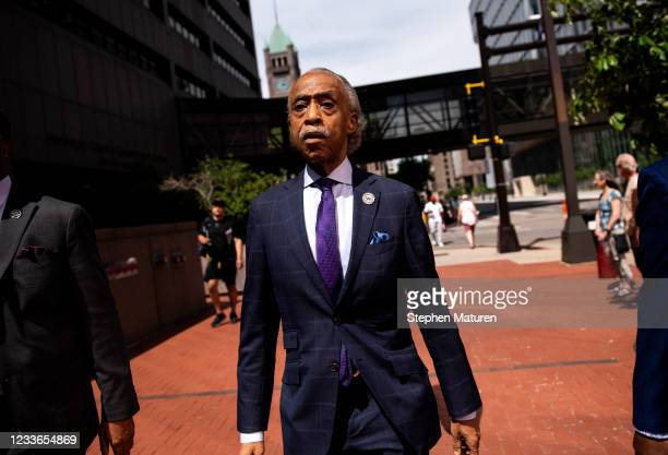 Rev. Al Shaprton walks to a press conference outside the Hennepin County Government Center after the sentencing of Derek Chauvin on June 25, 2021 in...