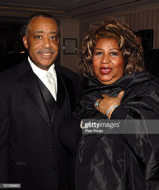 Rev Al Sharpton and Aretha Franklin during 22nd Annual Rock and Roll Hall of Fame Induction Ceremony Green Room at Waldorf Astoria in New York City...