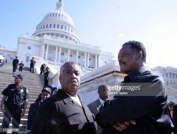 Rev Al Sharpton and Rev Jesse Jackson during Millions More Movement Launch at Streets of Washington DC in Washington DC District of Columbia United...