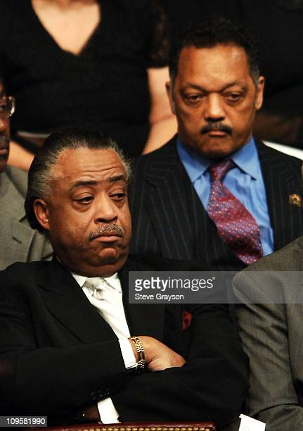 Rev Al Sharpton and Rev Jesse Jackson listen to speakers during the funeral service for the late Johnnie Cochran at the West Angeles Cathedral in Los...
